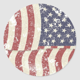 Distressed American Flag - vertical Classic Round Sticker