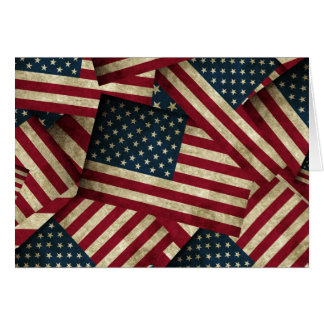 Distressed American Flags Card