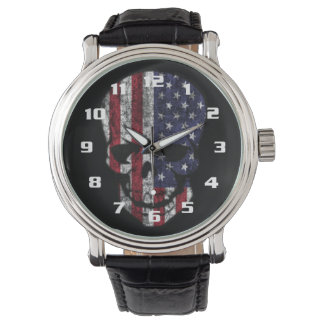 Distressed American Skull Watch