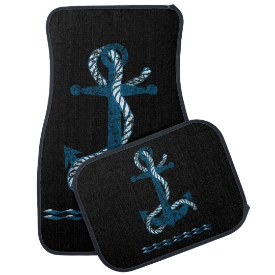 Distressed Anchor Blue DADB Car Mat