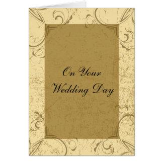 Distressed and Elegant Wedding Day Card