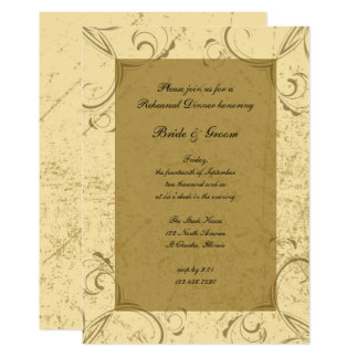 Distressed and Elegant Wedding Rehearsal Dinner Card