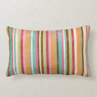 Distressed and worn out stripes lumbar pillow