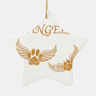 Distressed Angel Pet Paws Ceramic Ornament
