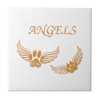Distressed Angel Pet Paws Tile