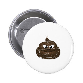 Distressed Angry Cartoon Poop 2 Inch Round Button