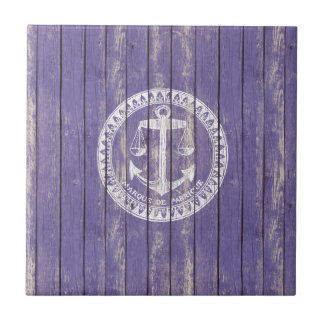 Distressed Antique Wood Print with Anchor Tile