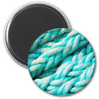 Distressed Aqua Blue Boat Rope - Nautical Print 2 Inch Round Magnet