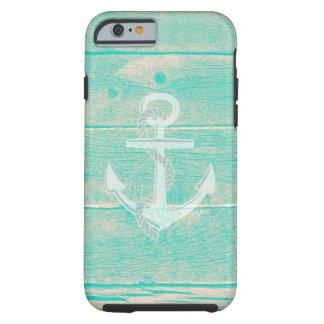Distressed Aqua Wood Nautical Anchor iPhone 6 Case