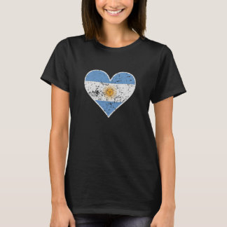 Distressed Argentinian Flag Heart T-Shirt
