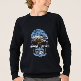 Distressed Argentinian Flag Skull Sweatshirt