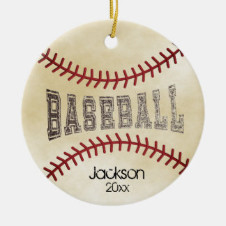 Distressed Baseball Ceramic Ornament
