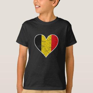 Distressed Belgian Flag Heart T-Shirt