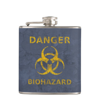 Distressed Biohazard Warning Hip Flask