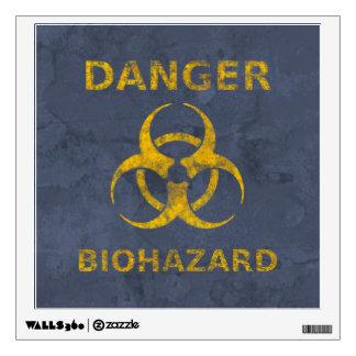 Distressed Biohazard Warning Sign Wall Sticker
