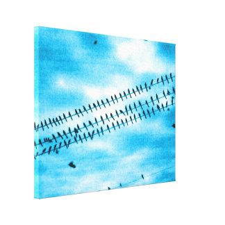 Distressed Birds on Grunge Blue Canvas Print