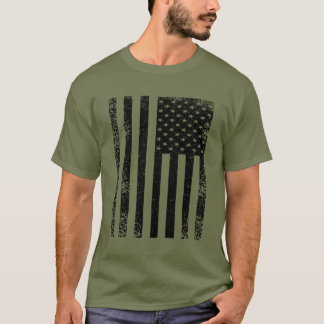 Distressed Black and White American Flag T-Shirt