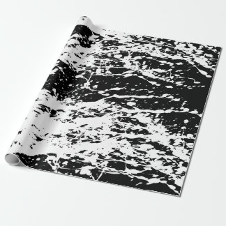Distressed Black and White Distressed Paint Wrapping Paper