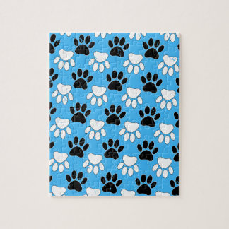 Distressed Black And White Paws On Blue Background Jigsaw Puzzle