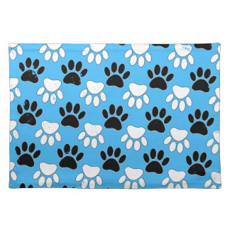 Distressed Black And White Paws On Blue Background Placemat