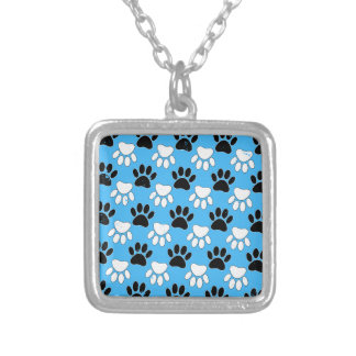 Distressed Black And White Paws On Blue Background Silver Plated Necklace
