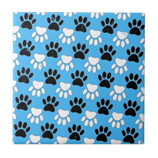 Distressed Black And White Paws On Blue Background Tile