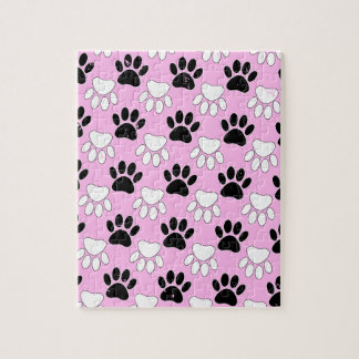 Distressed Black And White Paws On Pink Background Jigsaw Puzzle