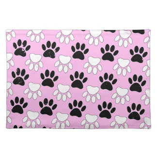 Distressed Black And White Paws On Pink Background Placemat