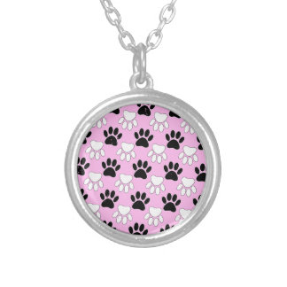 Distressed Black And White Paws On Pink Background Silver Plated Necklace