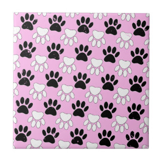 Distressed Black And White Paws On Pink Background Tile