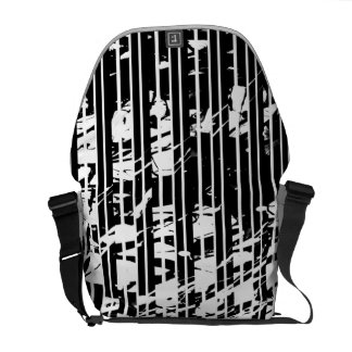 Distressed Black and White Pinstripe Commuter Bag