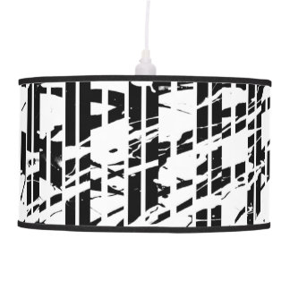 Distressed Black and White Pinstripe Pendant Lamp