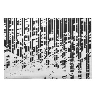 Distressed Black and White Pinstripe Placemat