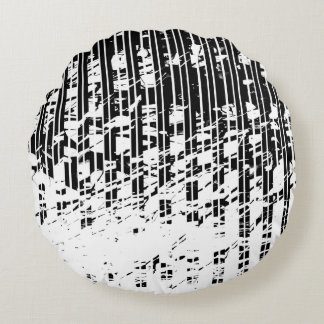 Distressed Black and White Pinstripe Round Pillow