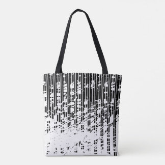 Distressed Black and White Pinstripe Tote Bag