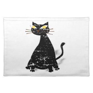 Distressed Black Fat Cat Placemat