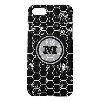 Distressed Black Honeycomb Geometric Monogram iPhone 8/7 Case