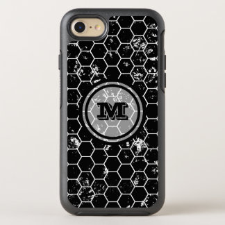 Distressed Black Honeycomb Geometric Monogram OtterBox Symmetry iPhone 8/7 Case