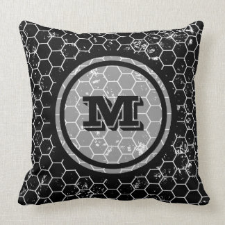 Distressed Black Honeycomb Geometric Monogram Throw Pillow