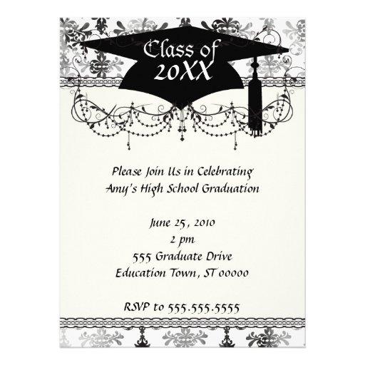 distressed black white intricate damask custom invites