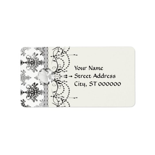distressed black white intricate damask label
