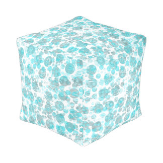 Distressed blue spots pattern pouf