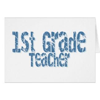 Distressed Blue Text 1st Grade Teacher Greeting Card
