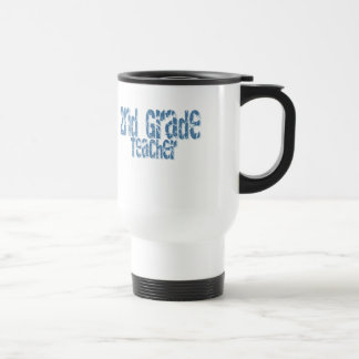 Distressed Blue Text 2nd Grade Teacher Stainless Steel Travel Mug