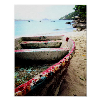 Distressed Boat Nautical Ocean Beach Travel Poster
