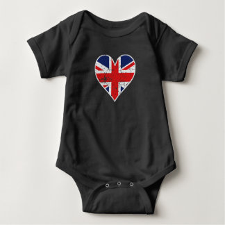 Distressed British Flag Heart Baby Bodysuit