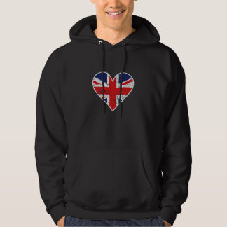 Distressed British Flag Heart Hoodie