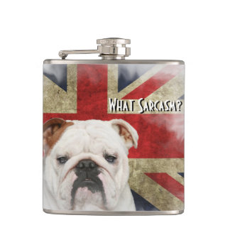 Distressed British Flag Union Jack, Bulldog Face. Hip Flask