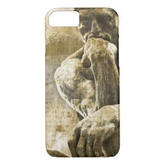 Distressed bronze statue Auguste Rodin the thinker iPhone 7 Case