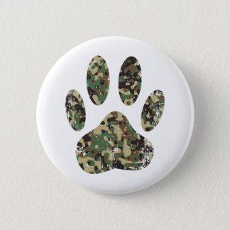 Distressed Camo Dog Paw Print 2 Inch Round Button